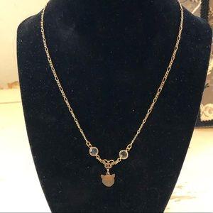 gold tone cat necklace Chanel set crystals vintage